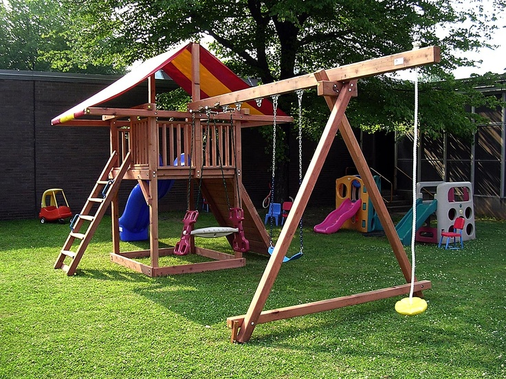 Swing set idea functional yards pinterest swings for How to make a simple wooden swing set
