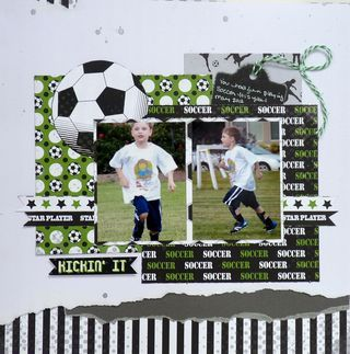Moxxie soccer scrapbook layout