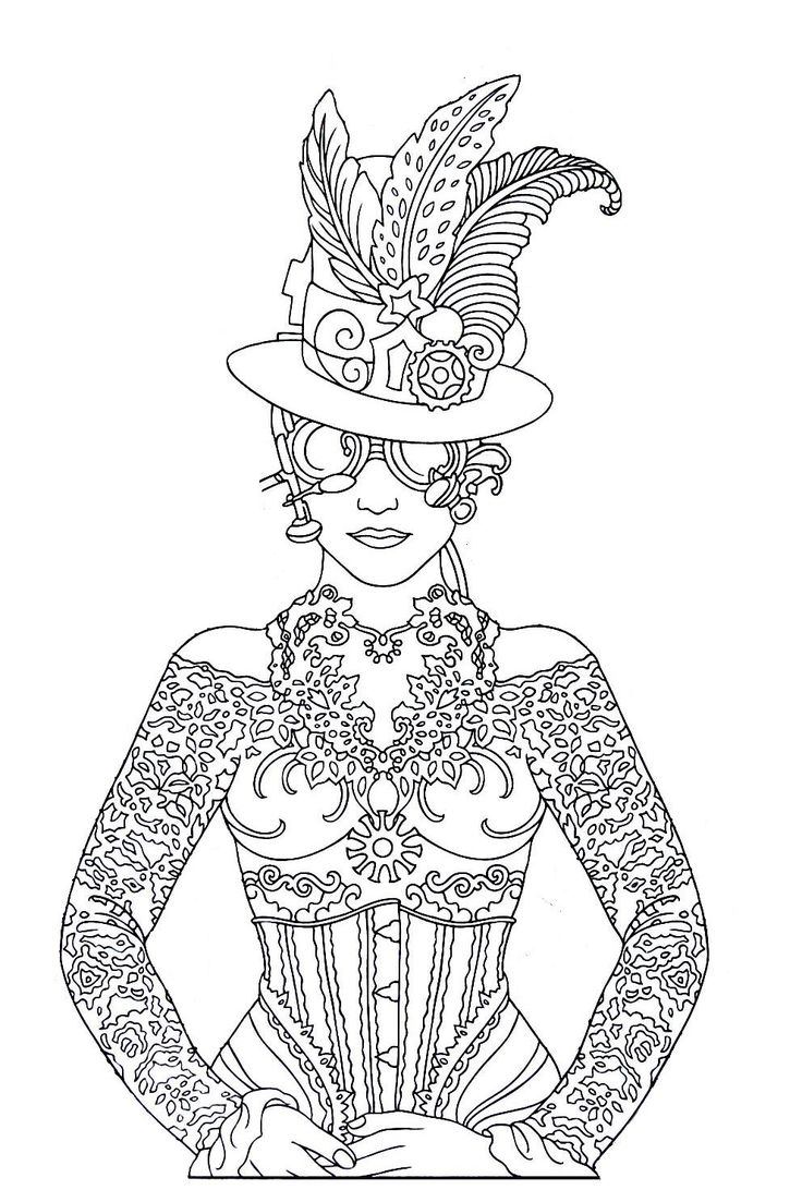 Steampunk Printable Coloring Book Page Easy To Medium