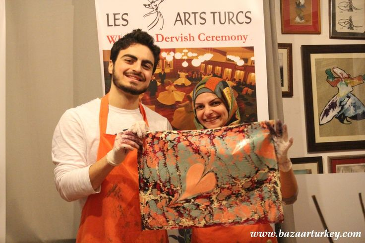 Turkish Ebru Class with our guests from Dubai -  Sultanahmet / Istanbul - February 2016 http://www.bazaarturkey.com/tours/turkish_marbling_lesson.html