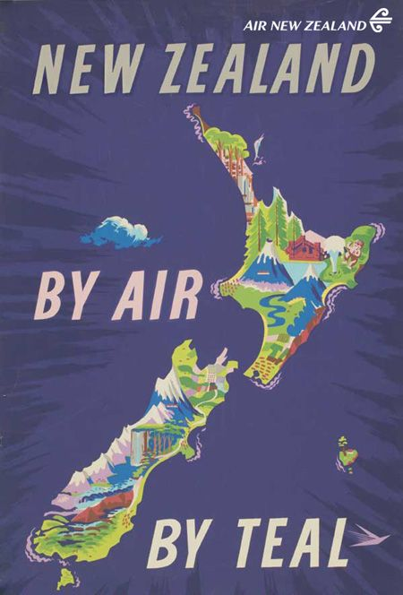 """A TEAL (now +Air New Zealand) """"New Zealand by Air"""" poster! #FlashbackFriday"""