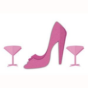 3D Martini and Heel Centerpieces - 3 pack - MyHensParty.com.au - $8.95