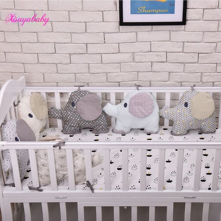 6PCS Baby Bed BumperFlexible Combination Backrest Cushion aimal Elephant Crib Bumpers Soft Infant Bed Around Protection