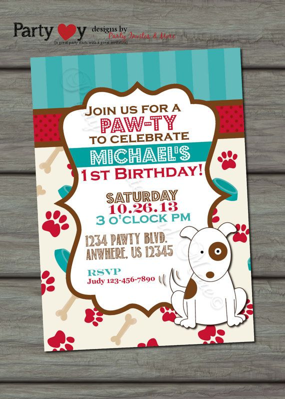 Puppy Birthday Invitation Dog Birthday by PartyInvitesAndMore                                                                                                                                                                                 Más