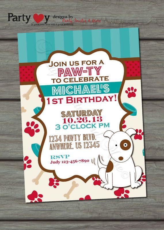 Puppy Birthday Invitation Dog Birthday by PartyInvitesAndMore