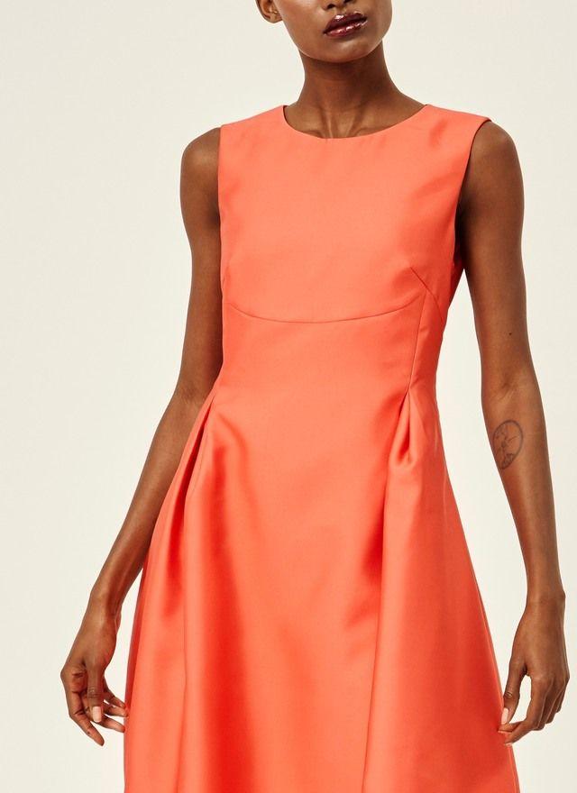 Vestido satinado de línea evasé - Vestidos   Adolfo Dominguez shop online