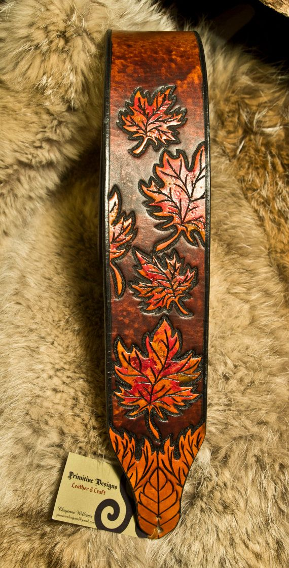 Maple Leaves Leather Guitar Strap by EastCoastLeather on Etsy