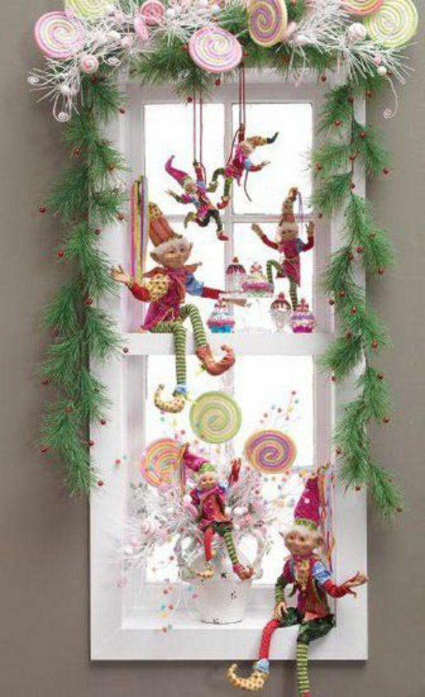bastelideen für Fenster Weihnachtensdeko design
