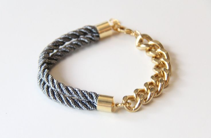 Arm candy - Half and Half: Gold chunky chain and Black Silk Bracelet - 24k gold plated