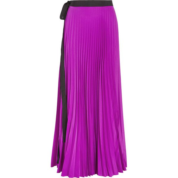 Issa Felicity pleated satin maxi wrap skirt (4 930 ZAR) ❤ liked on Polyvore featuring skirts, magenta, purple maxi skirt, long pleated skirt, purple pleated maxi skirt, pleated maxi skirt and tied maxi skirt
