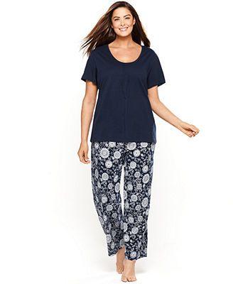 Nautica Plus Size Short Sleeve Pajama Top and Knit Pajama Pants