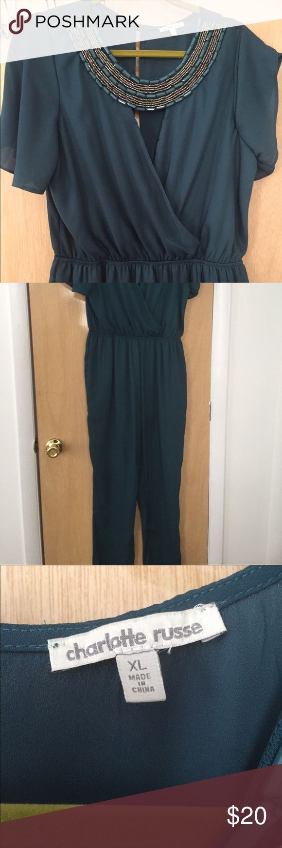 """Teal Jumpsuit Teal full length jumpsuit. XL, I'm 5'5"""" and it requires heels. Worn once! Charlotte Russe Pants Jumpsuits & Rompers"""