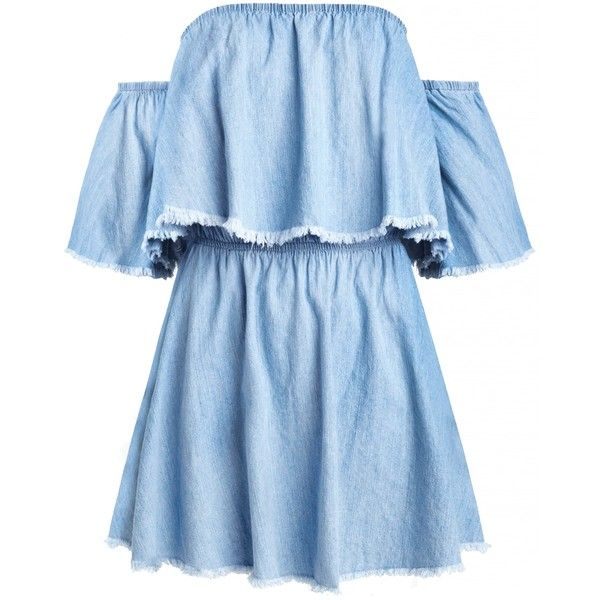 Denim Frayed Off the Shoulder Dress ($58) ❤ liked on Polyvore featuring dresses, blue ruffle dress, blue denim dress, elastic waist dress, frilly dresses and flutter-sleeve dress
