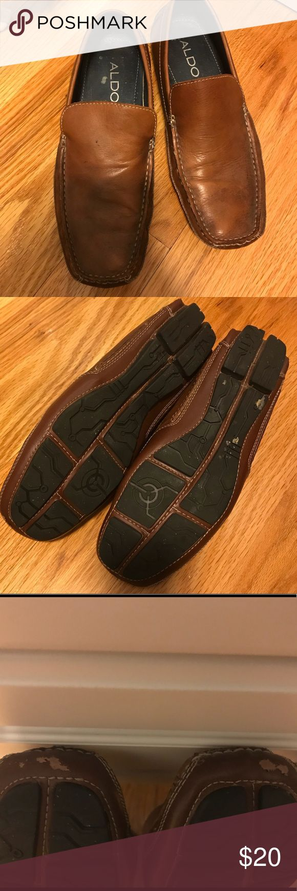 Men's brown leather loafers Brown leather loafer / slip on shoes from Aldo. Worn once to an outdoor wedding, so there is minor wear on the bottom soles and a scuff mark on each shoe at the tip of the front toe. Size 41 (European sizing) is comparable to a size 8. Aldo Shoes Loafers & Slip-Ons