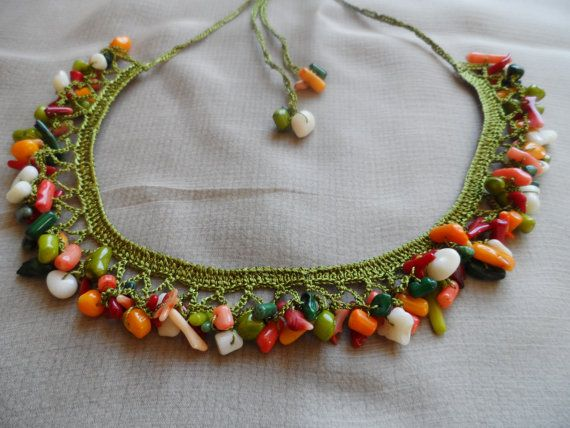 necklace-handmade crochet-colored by magicsshop on Etsy