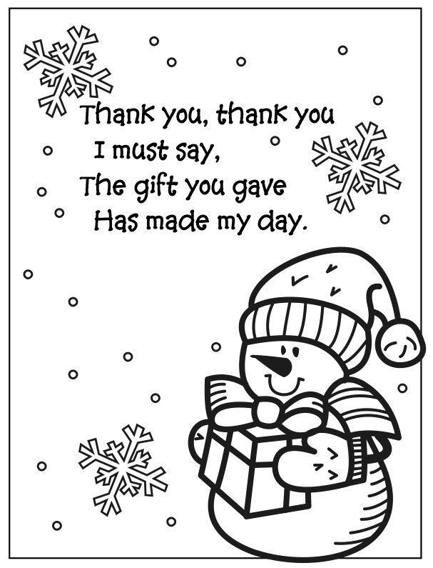 Easy Printable Snowman Coloring Thank You Poem For Kids To Give Snowman Coloring Pages Thank You Poems Preschool Christmas