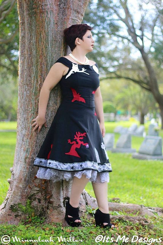36f68c9f061 grave yard party dress size11 tombstones bats cat owl up-cycled fashion Its  Me Designs goth fashion