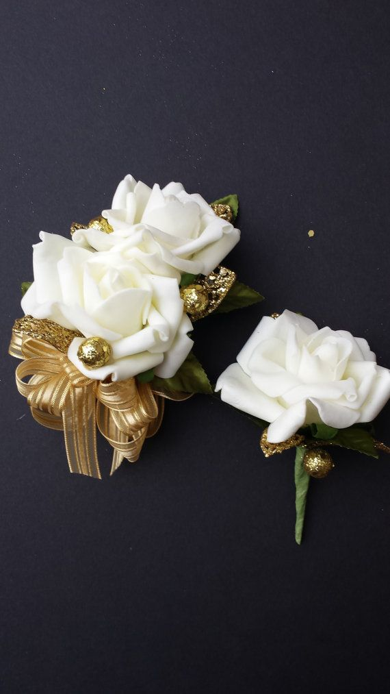 50th Anniversary Corsage And Boutonniere Set by DESIGNSBYDME