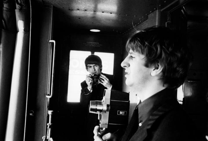 George photographs Ringo on the train from Washington DC to New York - The Beatles