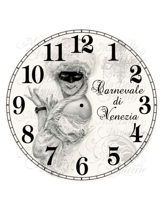 Clock-DIY Italian Inspired Clock Face-Carnevale di Venezia