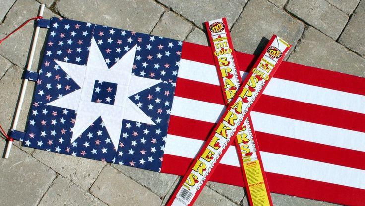 Patriotic Garden Path Banner Prairie Point Star Ornament