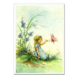 Blumenkind mit Schmetterling (Postkarte) --- Flower child with butterfly (postcard)