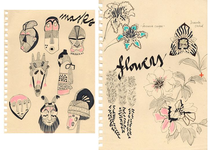 #ILLUSTRATION #MLC #masks #flowers #notebook http://letiziamlc.tumblr.com/