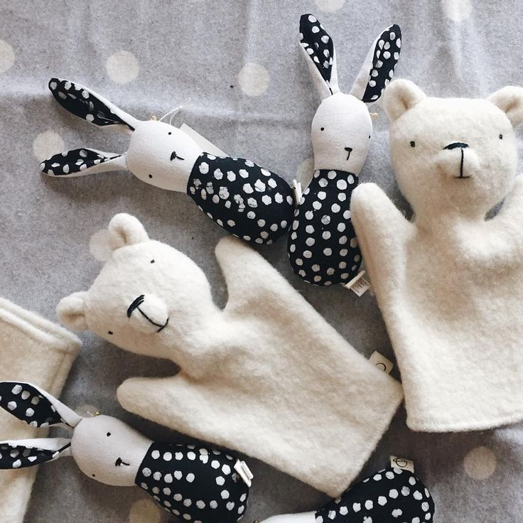Super sweet, handmade polar bear puppets and bunny rattles at bitteshop.com