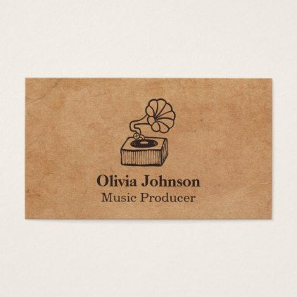Gramophone Music Producer Vintage Business Cards - retro gifts style cyo diy special idea