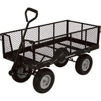 Strongway Jumbo Wagon – 48in.L x 24in.W, 1,400-Lb. Capacity  Industrial-grade Strongway Jumbo Wagon handles heavy loads up to 1,400 lbs. Front, rear and side panels fold away or detach completely for easy loading and unloading. Perfect for hauling patio blocks, firewood, gardening supplies and much more. Durable construction with steel frame and steel mesh deck. 13in. dia. pneumatic tires give a smooth ride over varying terrain. Product Type Wagon, Wheel Size in. 13 x 5, Side Rails I..