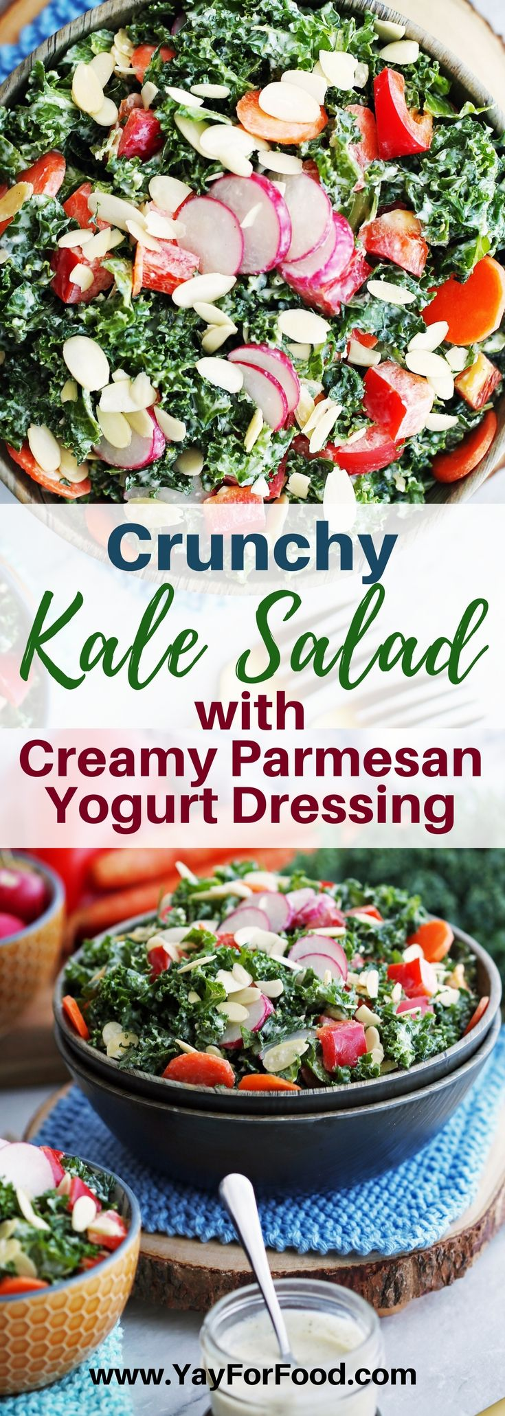 Crunchy Kale Salad with Creamy Parmesan Yogurt Dressing - Check out this delicious salad featuring nutritious green kale, colourful vegetables, and a savoury homemade parmesan dressing! #yayforfood | #salad | #healthy | #glutenfree | #glutenfreerecipes | #sidedishes | #dinner | #parmesan | #kale