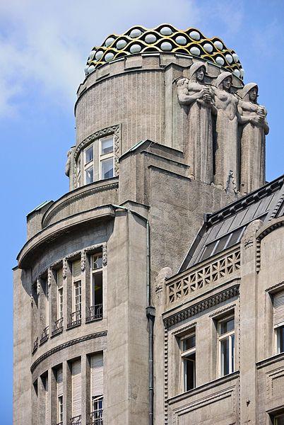 Crown of the Koruna Palace (1912-1914) in Wenceslas Square, Prague, Czech Republic. Architects: Antonin Pfeiffer et Matěj Blecha. Sculptor: Vojtěch Sucharda.