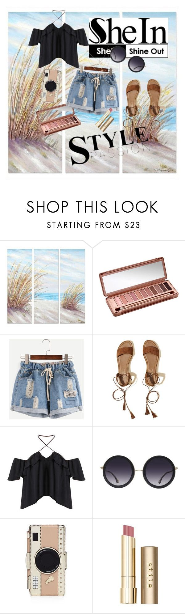 """Denim Short Style"" by sofia-881 ❤ liked on Polyvore featuring Yosemite Home Décor, Urban Decay, Hollister Co., Alice + Olivia, Kate Spade and Stila"