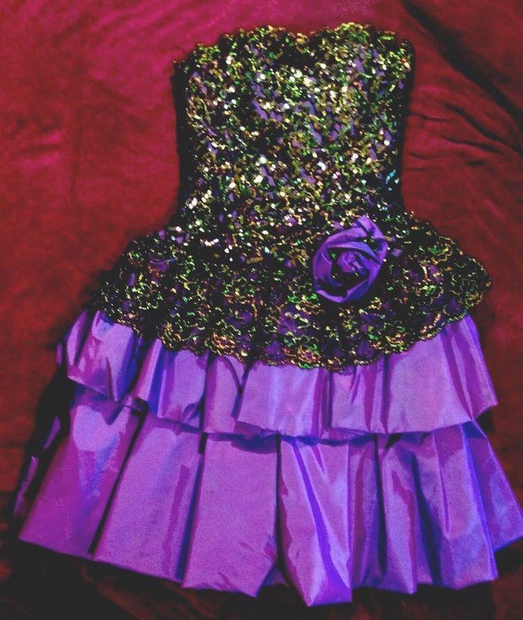 Danela's Purple Tiered Ruffles & Black w/Gold Lace Top Ballroom Dance Dress, 8    eBay