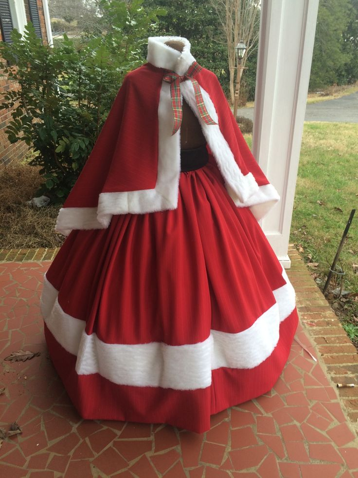 Red Satin Mrs Clause/Dickens Fair/Civil War Dress/Cape Set