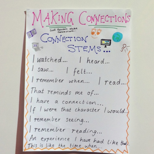 Making connections sentence stems...