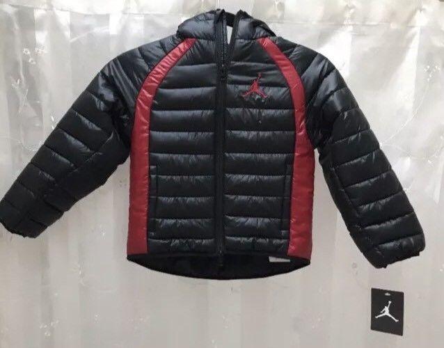 0127959d1 NWT Air Jordan Nike Boys Puffer Jacket Black Red 5 6 M Winter Coat ...