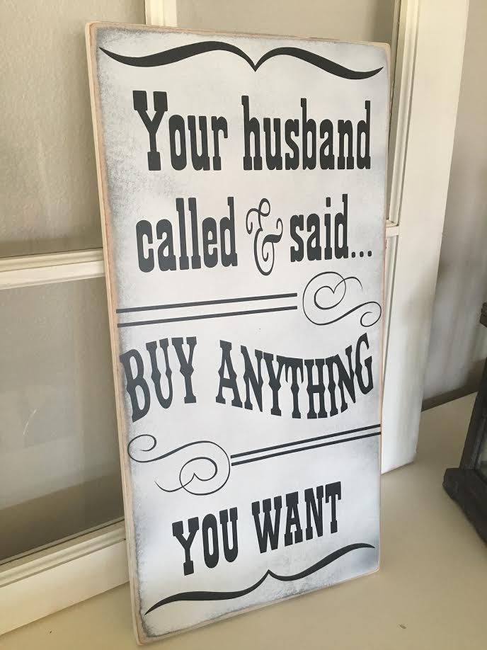 Wood Sign Design Ideas two wood pallets have been attached with hinges and rope and then minimally painted to create a simple wood sign letting people know that the bike shop is Your Husband Called He Said To Buy Anything You Want Wooden Sign Lularoeboutique