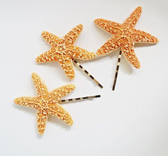 Set of 3 Starfish Mermaid Hair Bobby Pins by HeavenlySea on Etsy, $12.00