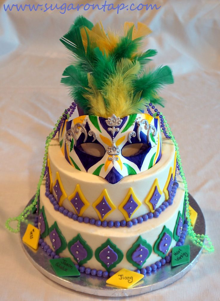 Mardi Gras Cake – I made this Mardi Gras cake for a local business who contracted me to make a monthly birthday cake for thier staff. Most of the time, I have free reign on design and theme. For March I decided to go with this. The mask is hand crafted from gumpaste, with gumpaste accents and silver dragees – all hand painted. My client loved the mask so much, they have decided to keep it and display it at their office. TFL