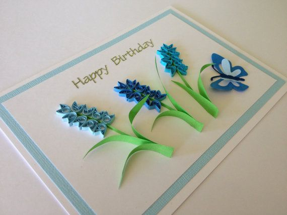 Handmade quilled paper Birthday congratulations Card. blue paper flowers mum, mom, aunt, sister, grandma, grandmother, friend
