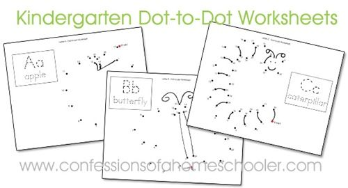 Kindergarten Dot-to-Dot Worksheets