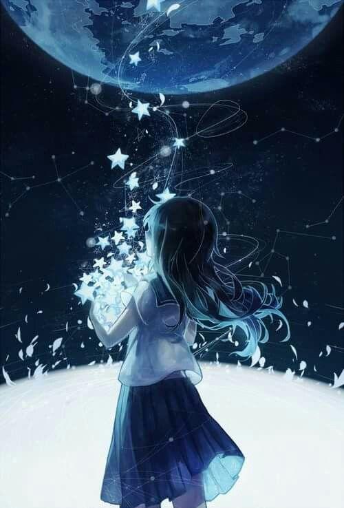 Anime girl - black hair, white-black dress, stars