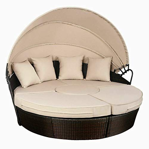 Check This Brown Rattan Wicker Outdoor Patio Round Daybed With Retrac Patio Furniture Patiofurniture Outdoor Garden In 2020 Outdoor Daybed Patio Sofa Sofa Furniture