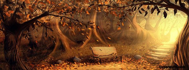 Free Fall Facebook Covers: Autumn Bench Facebook Cover
