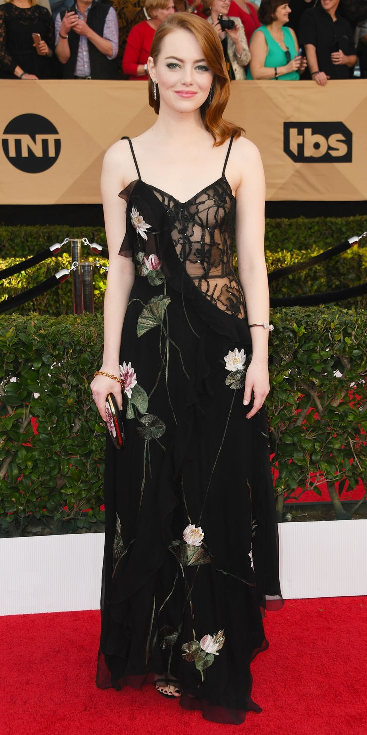 See Our Top 5 Best Dressed at the Screen Actors Guild Awards 2017 - Emma Stone in Alexander McQueen from InStyle.com