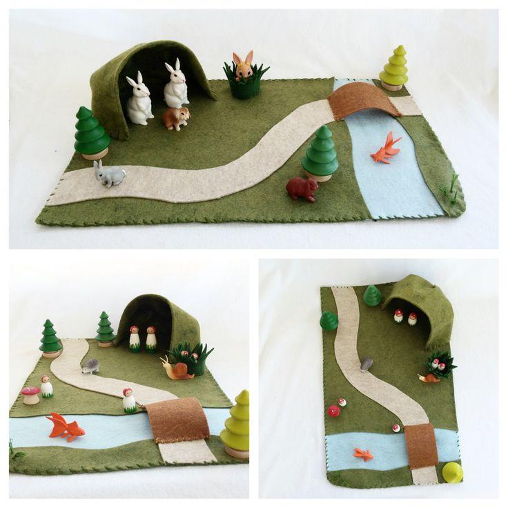 Landscape Playscape Play Mat - wool felt pretend play - cave river path bridge - storytelling fantasy storybook fafairytale - unisex toy by MyBigWorld2015 on Etsy