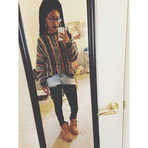 the simple dope. nice cosby sweater, cute shorts, good choice to pear with thick tights, timbs go perfectly with it