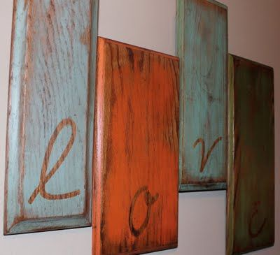 """4 drawer fronts (or pieces of wood), adding some stickers or vinyl letters, paint, peel up the letters and stain over the top. Maybe """"Cook"""" for the kitchen?"""