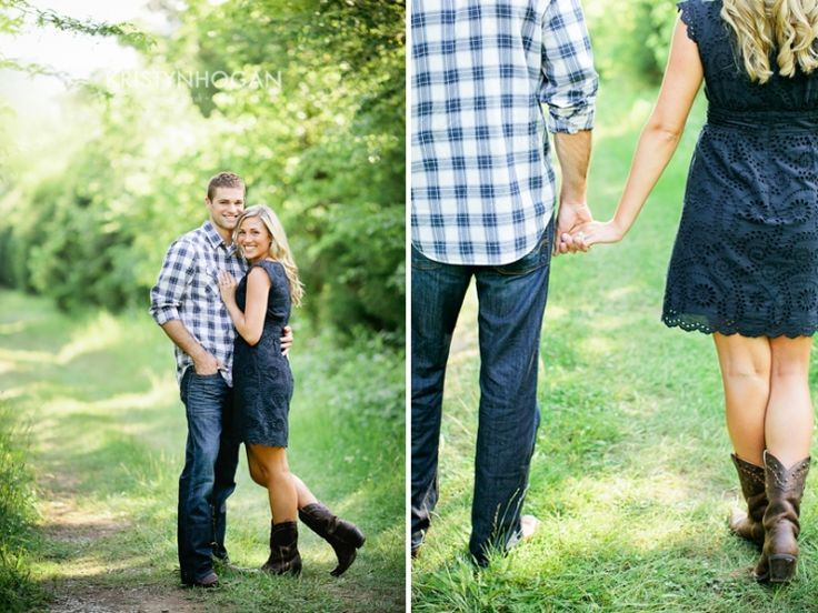 What to wear for country style engagement photos.  Love the blues.